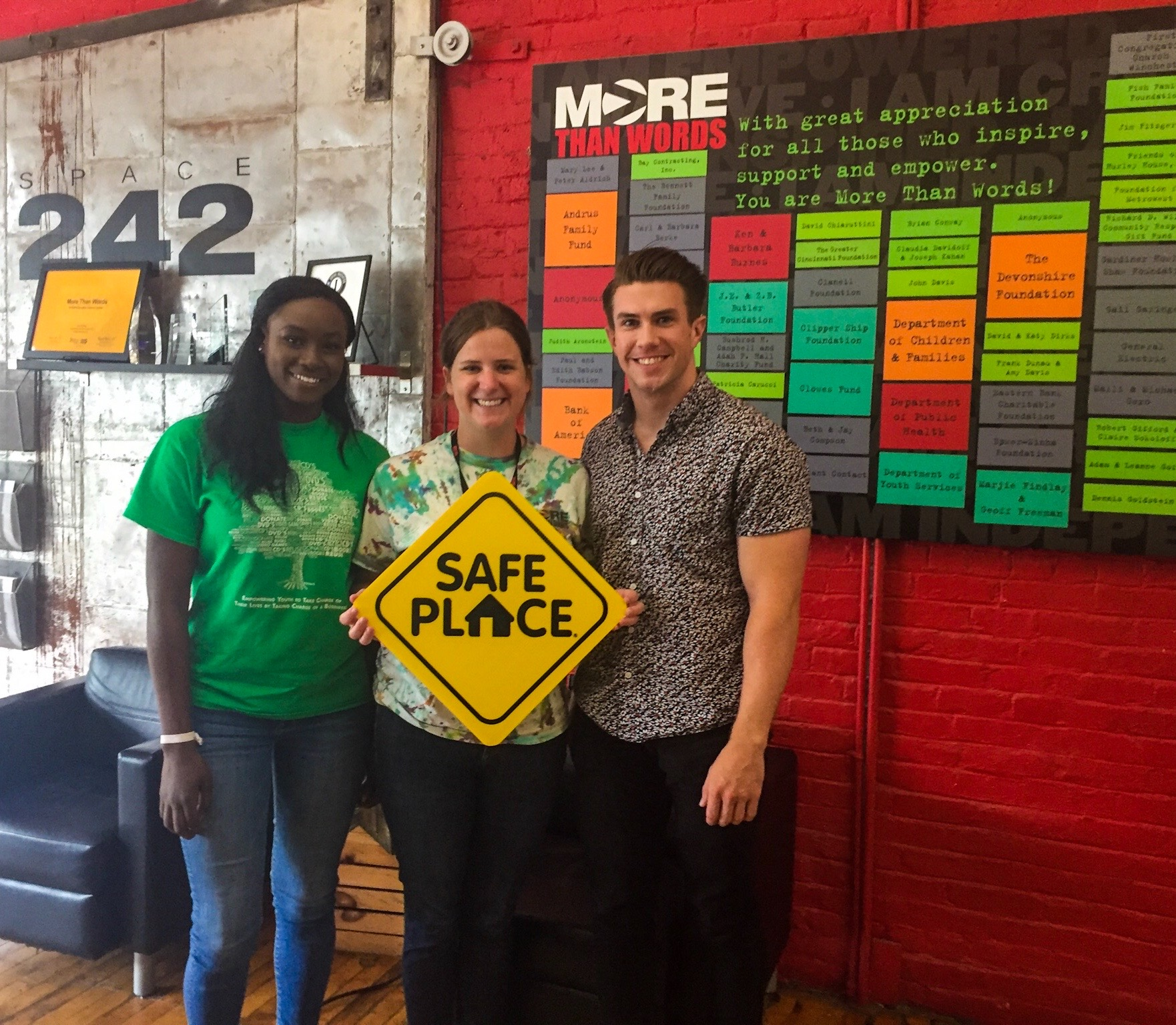 Safe Place signage indicates that both More Than Words locations (Boston and Waltham) are a key resource for any underage youth in need.
