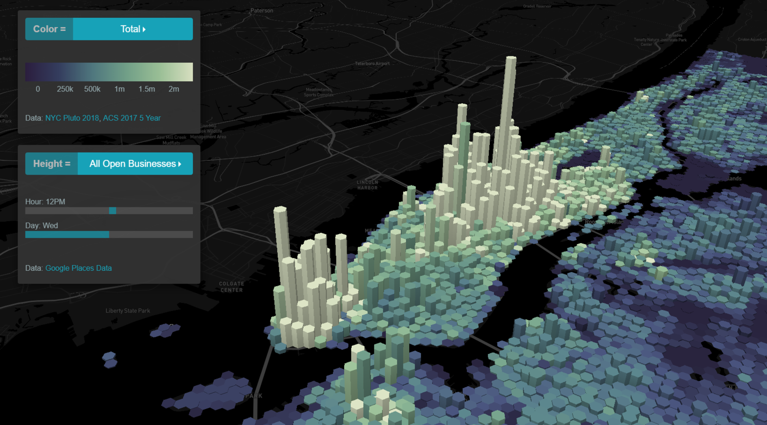 Hive : Find relationships between business opening hours and civic open data-sets with this 3D urban data viz tool.