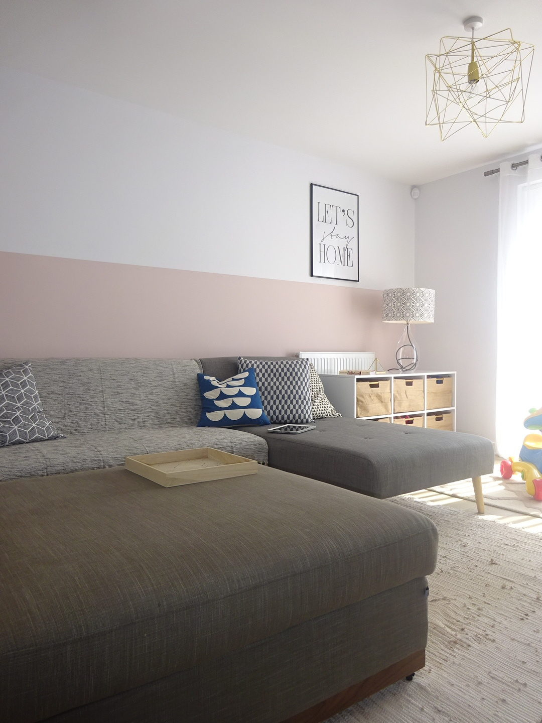 The half white half blush wall has been a hit, making the room look taller and making it a cosy and peaceful place.