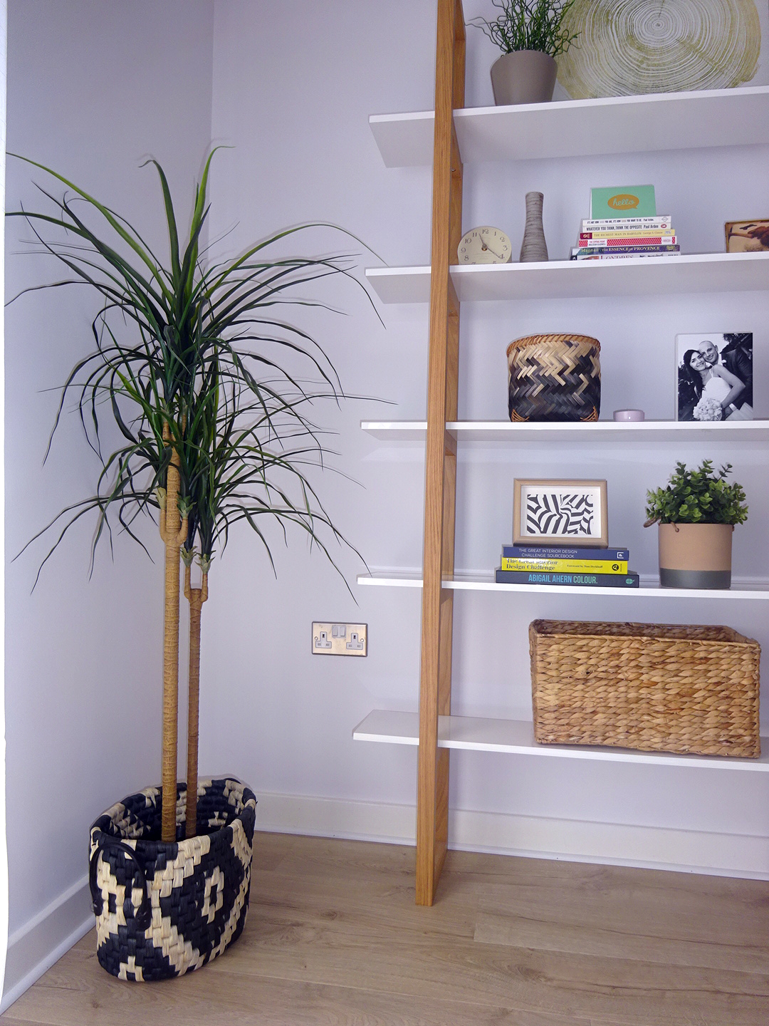 The book shelf & plants style one of the corners of the room.