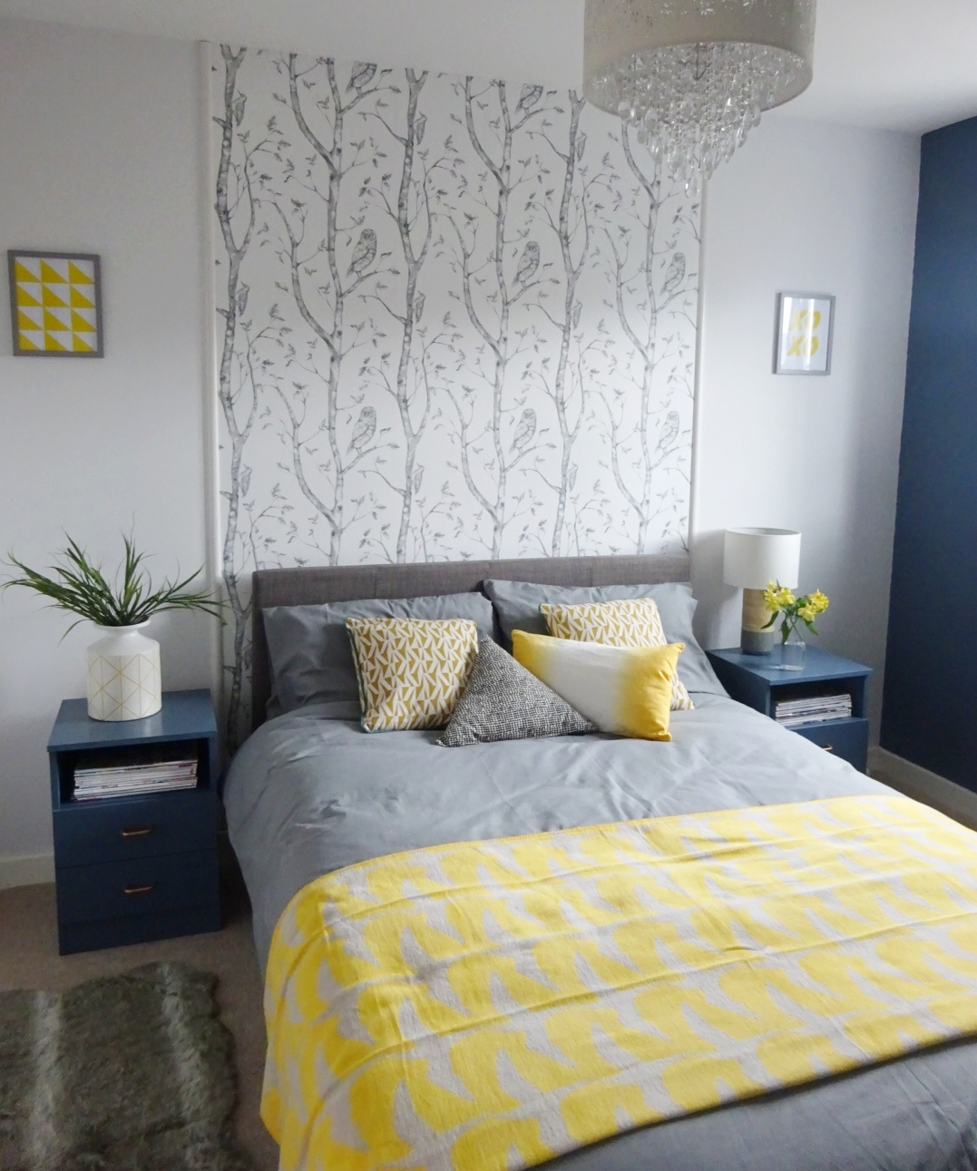 guest bedroom blue with yellow accents