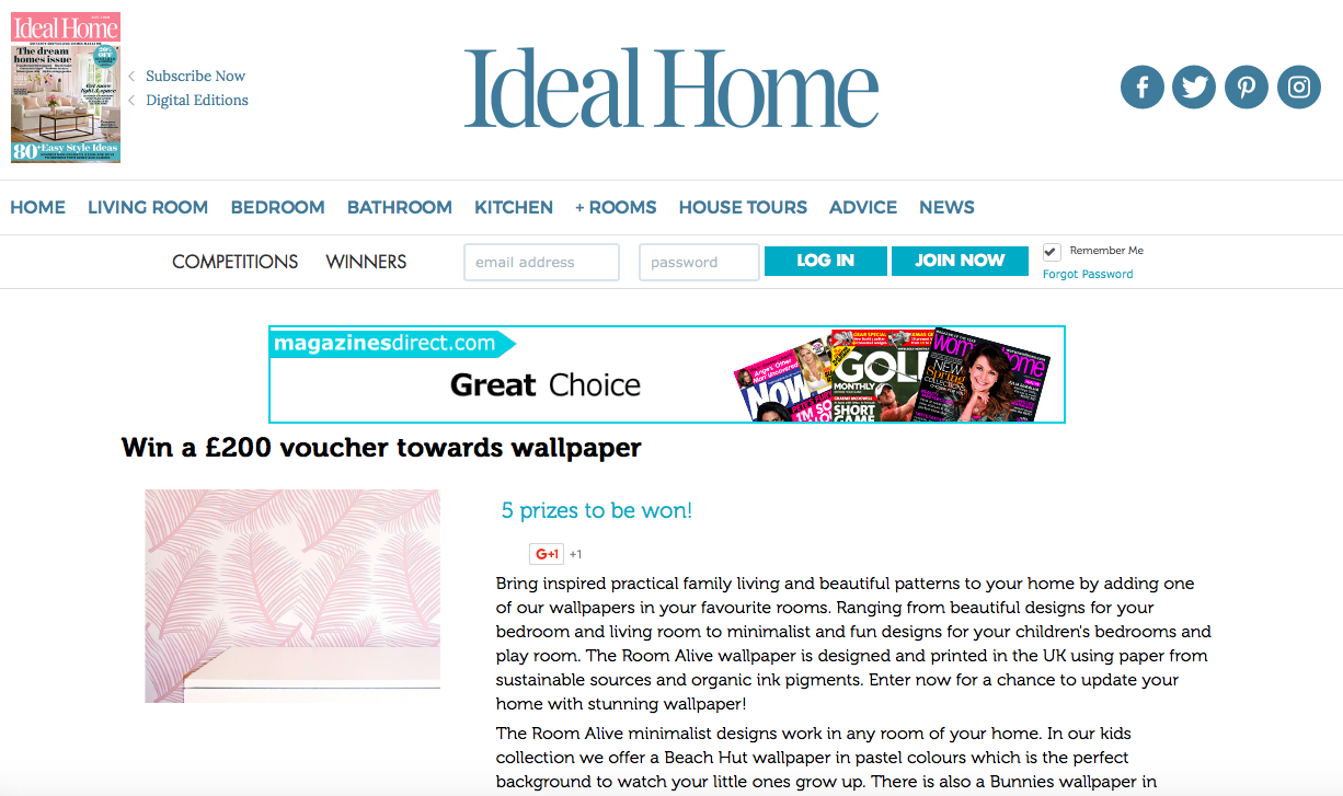 ideal home competition the room alive