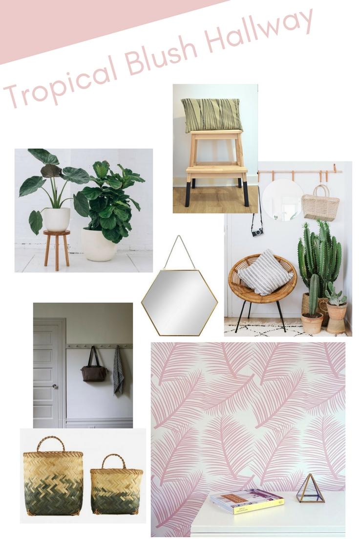 blush palm leaf garden wallpaper hallway makeover moodboard