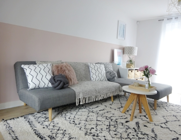 On the wall, the millennial pink shade creates a cozy warm atmosphere for those that don't want to go too dark. It works really well with greys and a monochrome scheme, as well as metallics such as brass and rose gold.