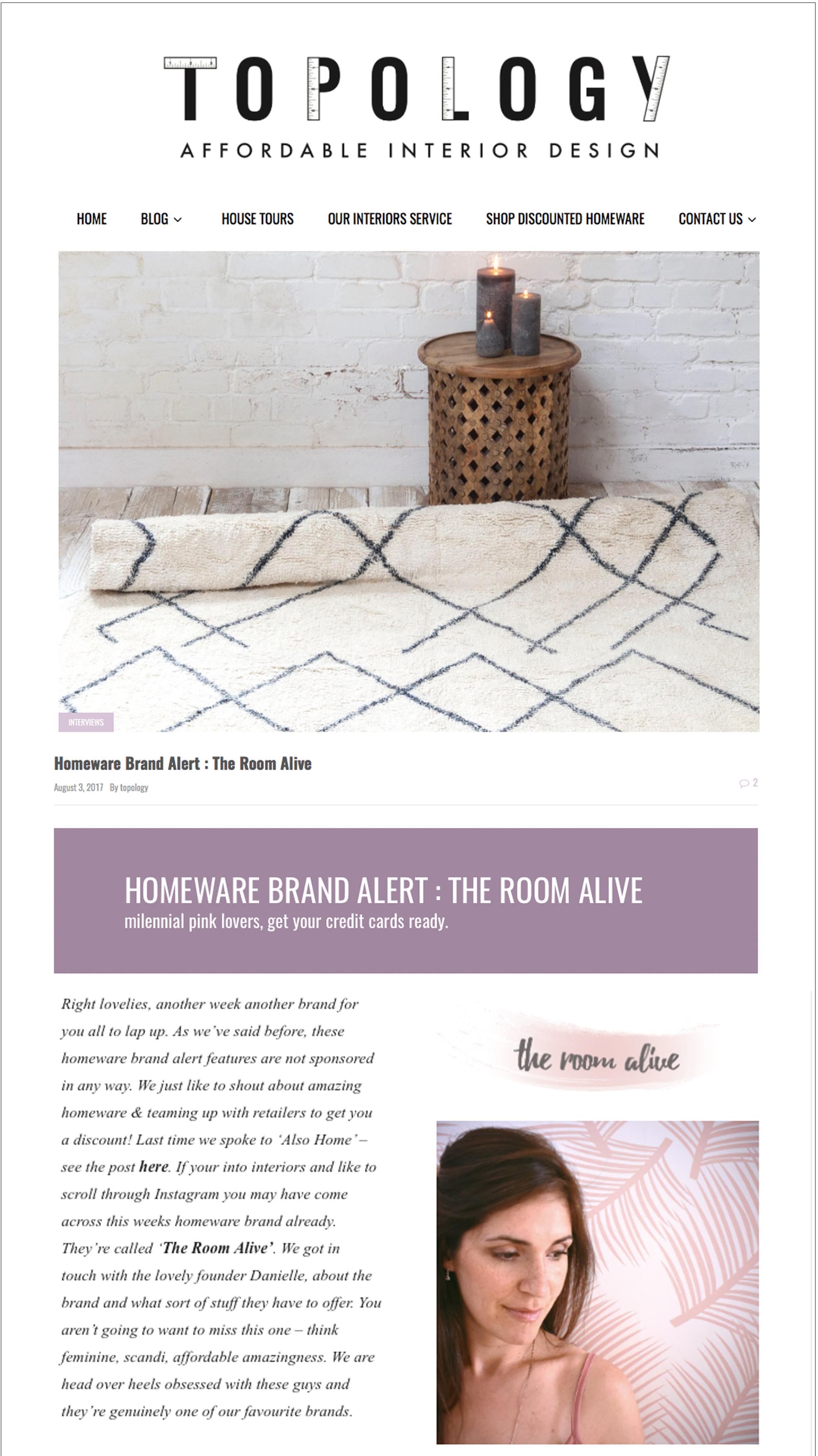 Topology Interiors - Homeware Brand Alert August 2017