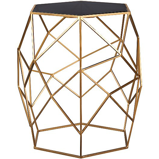 The glass top geometric brass table from  George at Asda