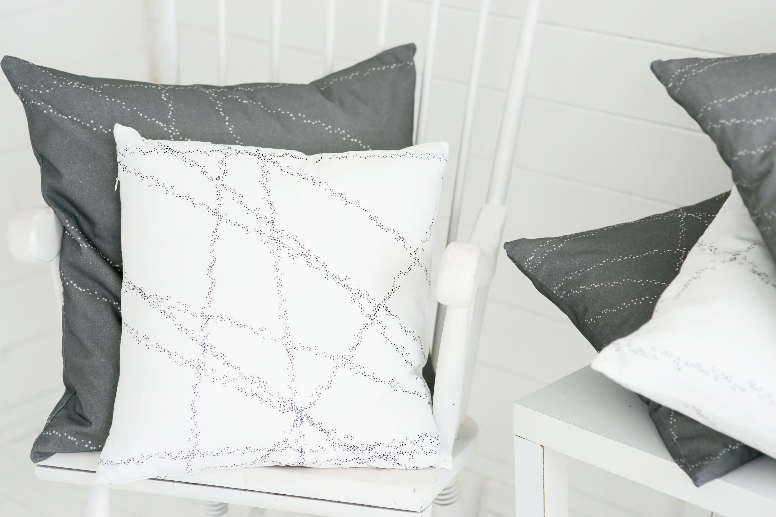 Dotted Lines cushions in Black & White and Grey & Blush