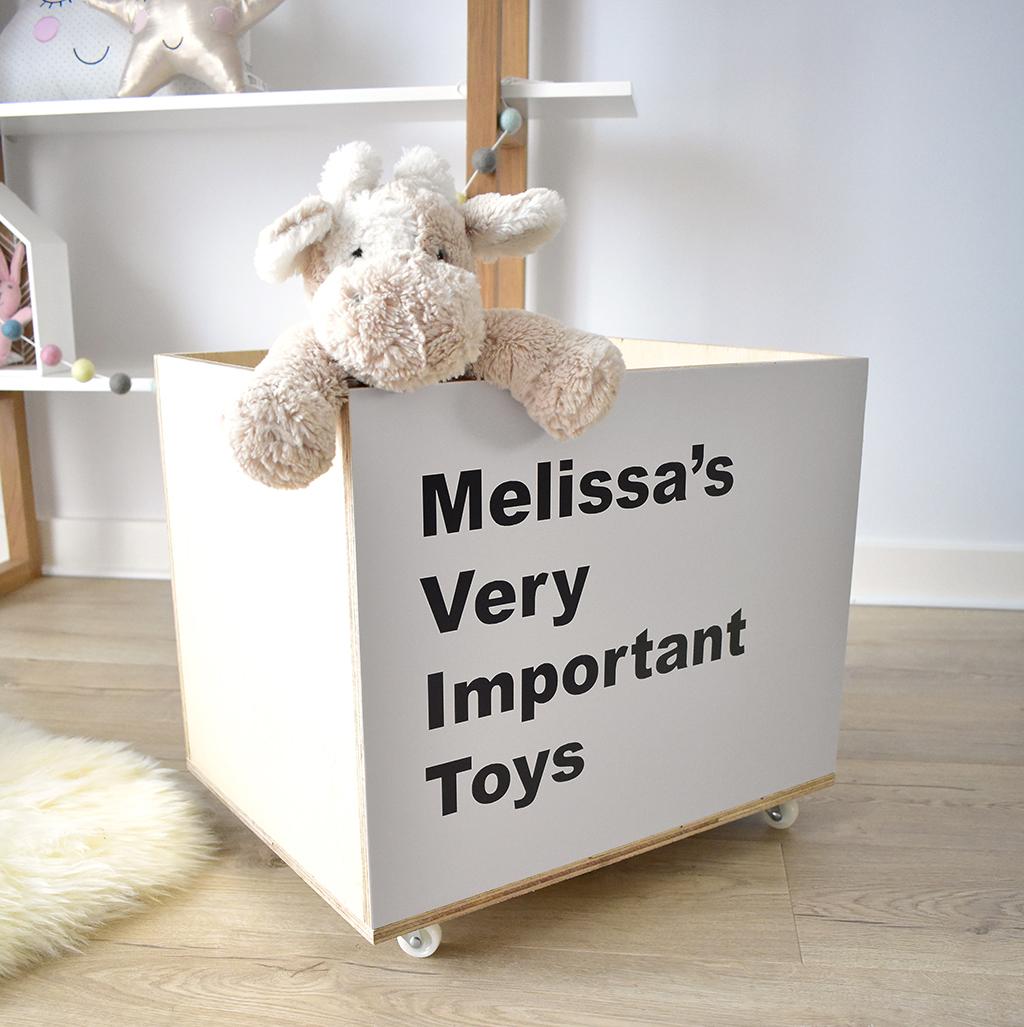 Personalised toy storage crate on wheels