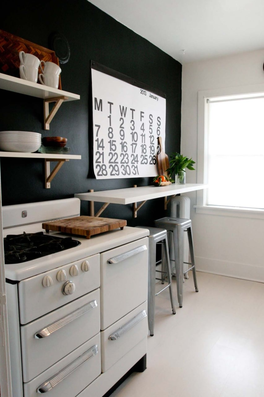 It brings the kitchen to life and breaks the dark wall nicely
