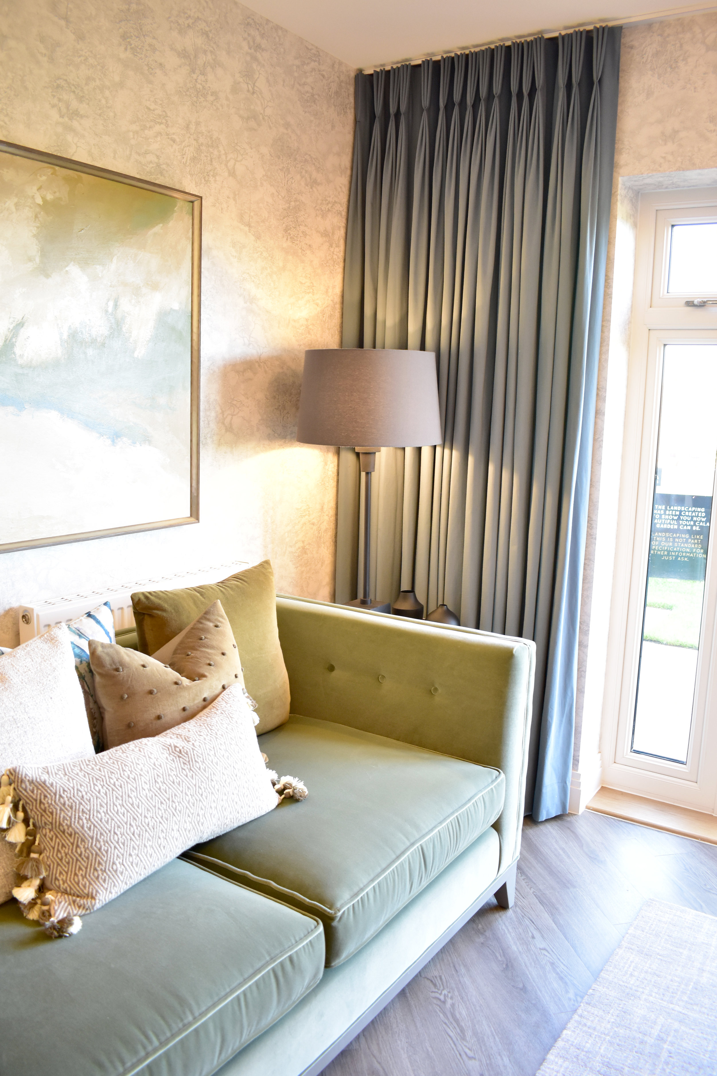 Cleverly placed curtains make the room look even bigger, and window coverings are also included in the new home finishings package with  Cala Homes .