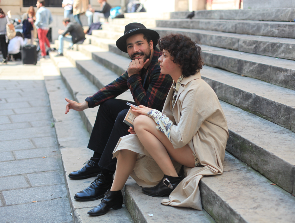 Comedian and actor Redouanne Harjane with actress Alia Shawkat on location in Paris, France