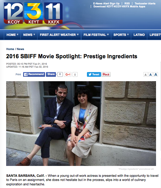 Some press from the Santa Barbara, CA regional television network including an interview with the directors before the grand opening event of the SBIFF(click on image to see full article)