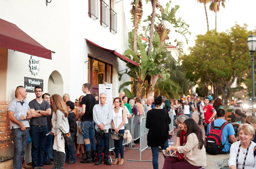 "Movie goers line up at the ""Prestige Ingredients"" world premiere at SBIFF. photo by Leela Cyd"