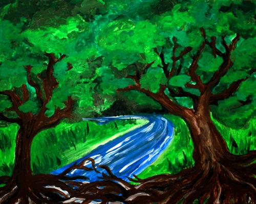 11 x 14 Inch Canvas Panel Acrylic / Watercolor December 2012  *UNAVAILABLE*