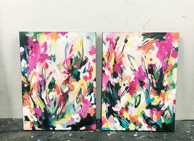 Excited for these commissioned pieces to head to their new home ❤️ so much fun colour!