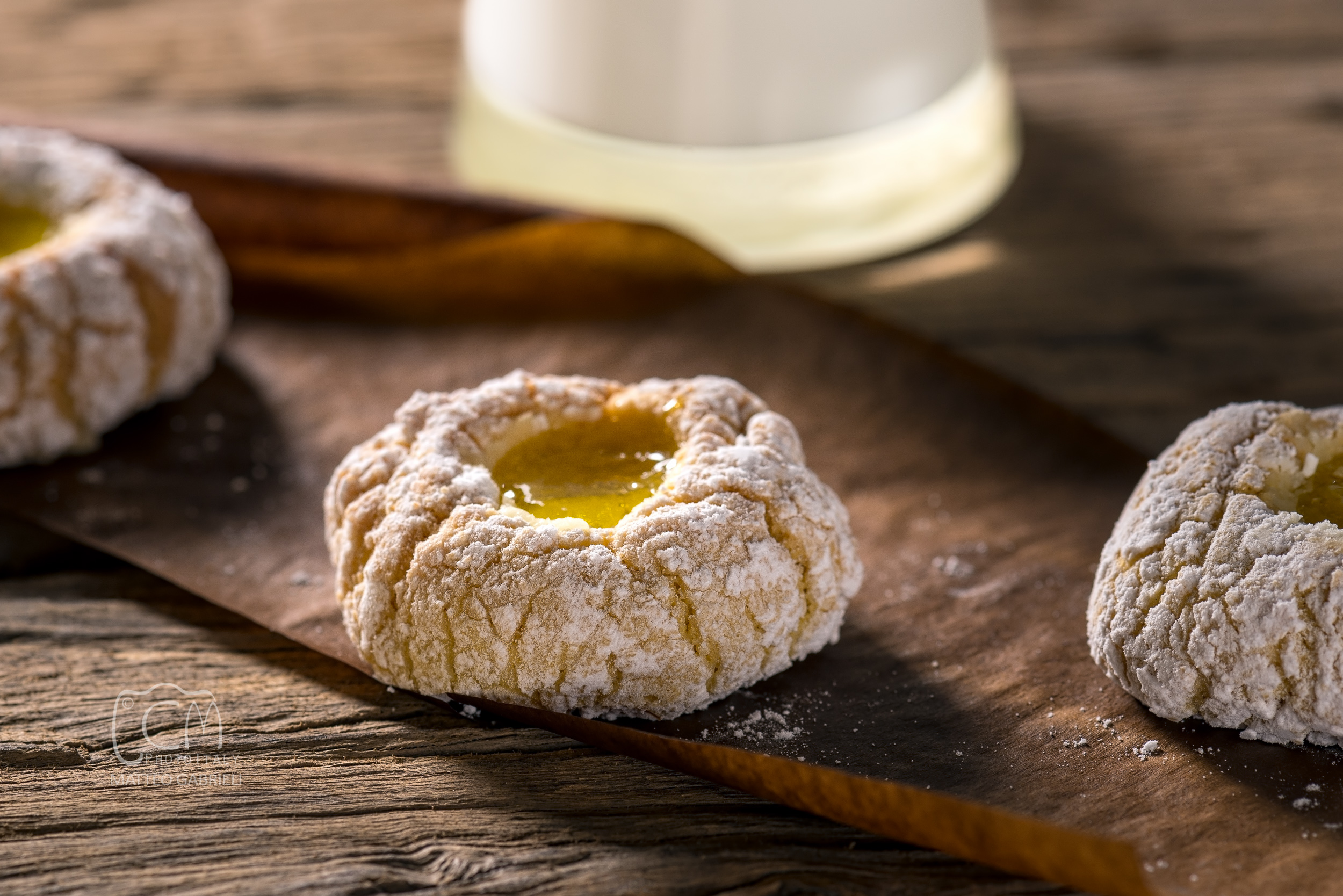 Delicious homemade sicilian almond cookies with lemon jam, Italian pastry