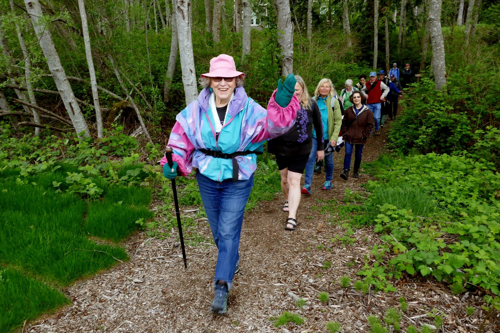 Alyce leads the way from Picnic Point to the Interpretive Trail