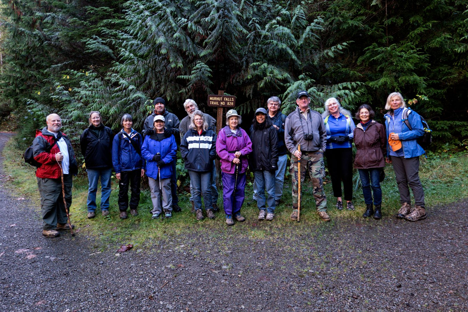 The hikers gather before the hike to Murhut Falls