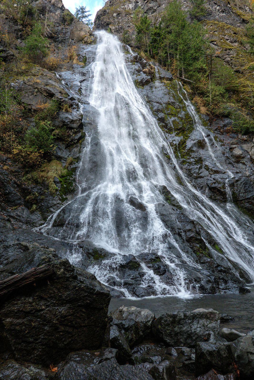 Rocky Brook Falls cascades down 229 feet over a dark rock wall
