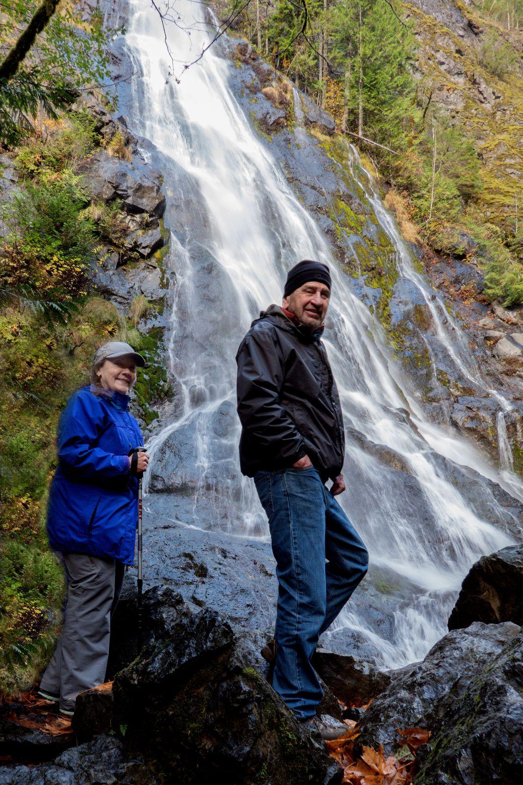 Sarah and Denny enjoy the falls