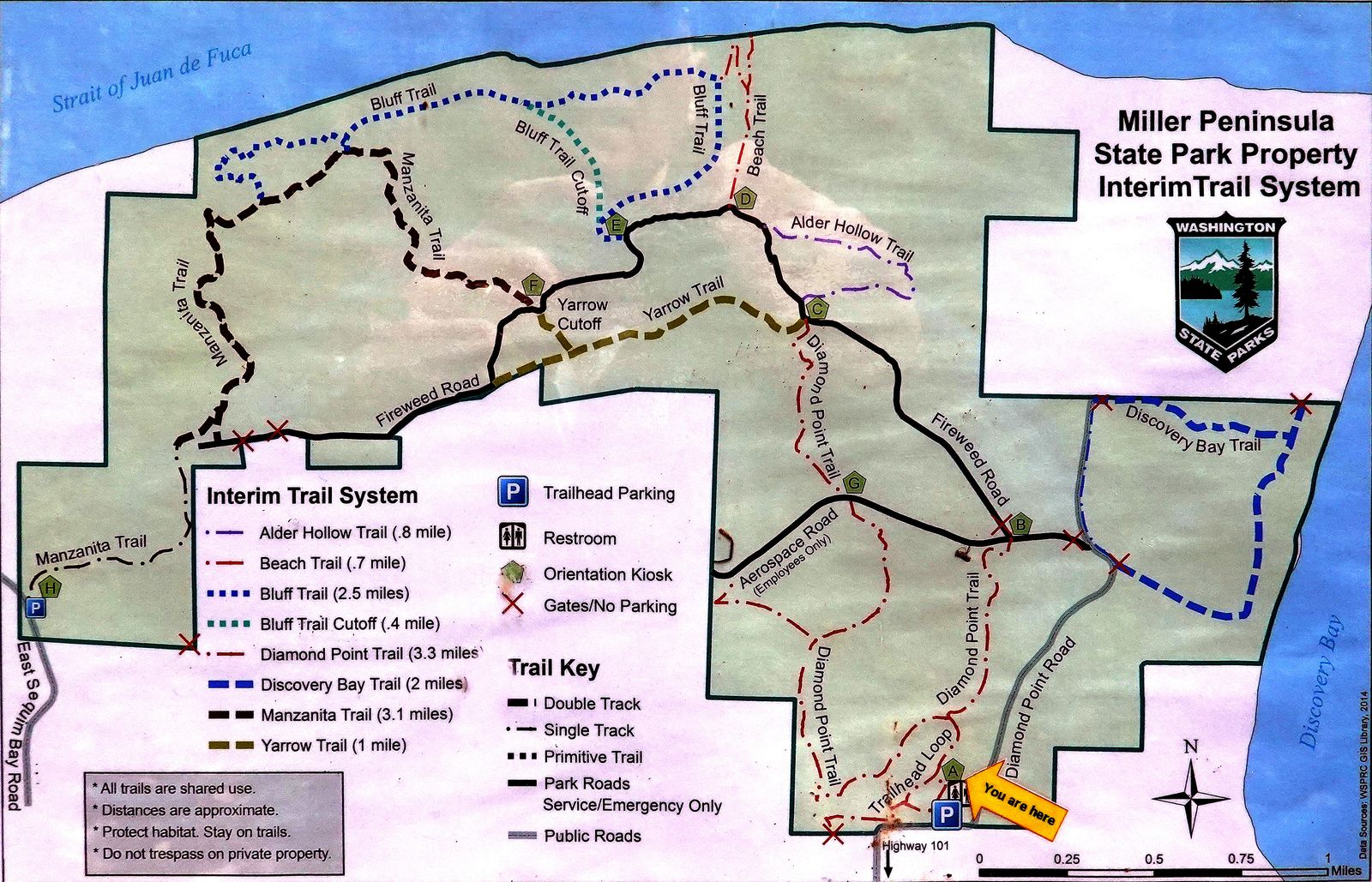 """We hiked from """"You are here"""" to the end of the Beach Trail"""