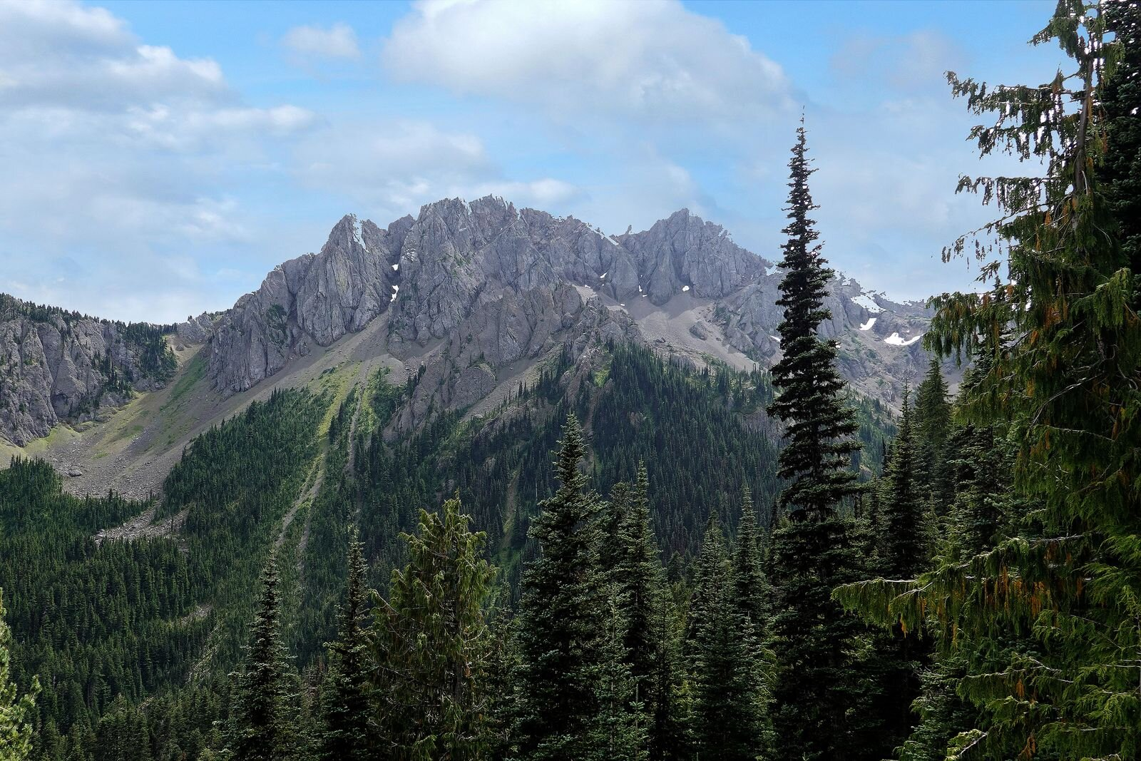 Some of the rugged peaks you see along the trail