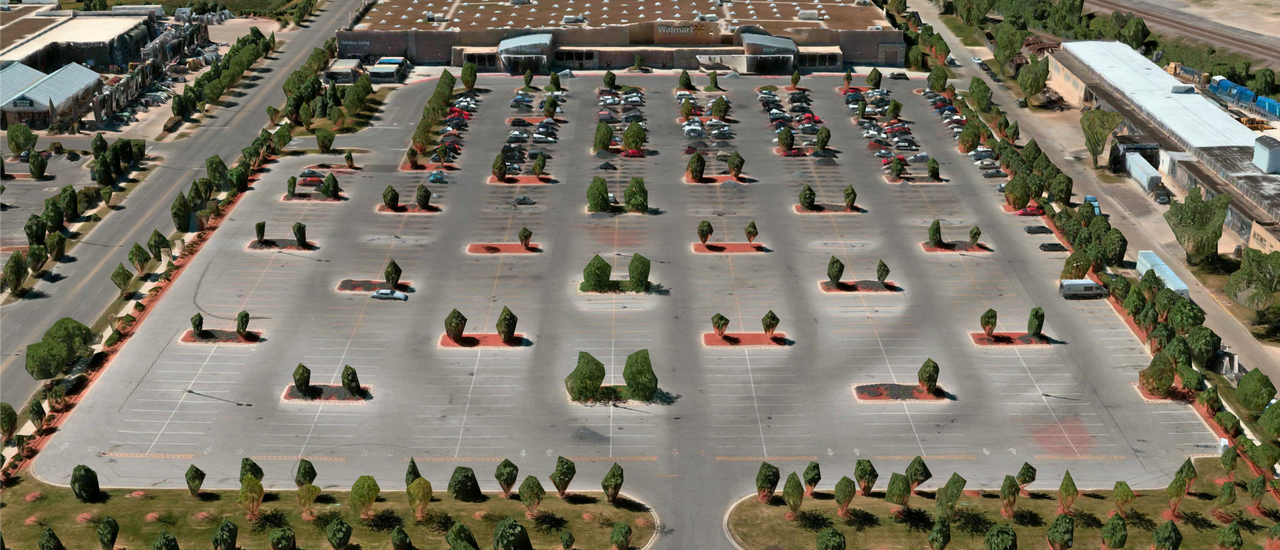 Desire paths (one type of emergent use case) in a Walmart parking lot (reconstructed from a post by  u/unroja )