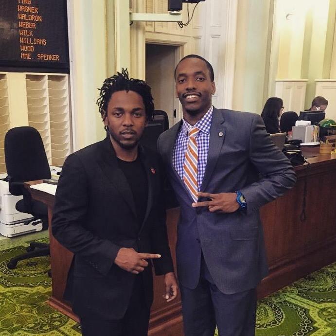 Martin T. Harris with rapper and activist Kendrick Lamar