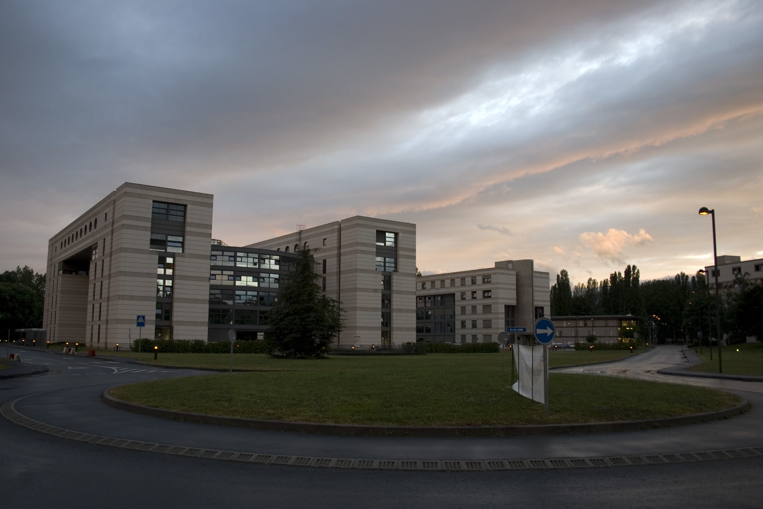 An exterior view of Building 40 at CERN, situated between Meyrin, Switzerland and Saint-Genis-Pouilly, France.