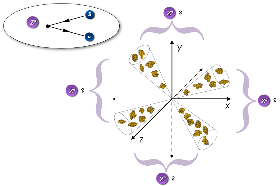 Two Z bosons each decaying to a quark-antiquark final state, which leads to four hadronic jets.  It's not immediately clear which ones belong together.