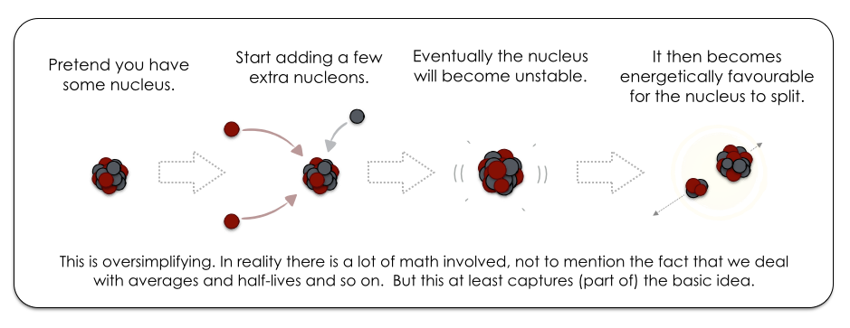 Trade-off between the electromagnetic and strong nuclear forces: an atomic nucleus can only accommodate certain numbers of neutrons and protons – adding any more will eventually cause it to become unstable and decay.