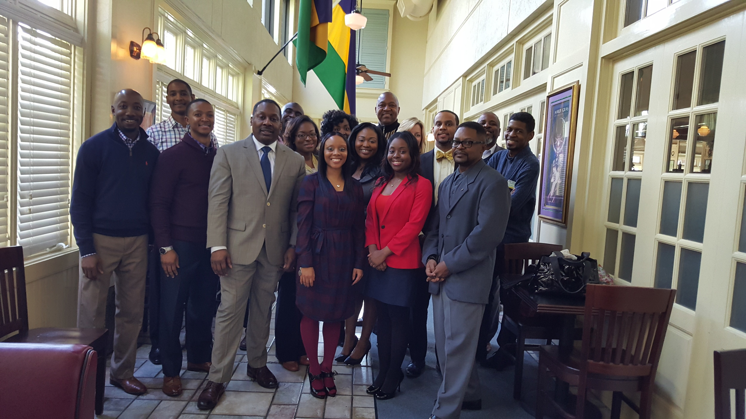 NAHSE members join Dr. Thomas LaVeist for a photo after the event -January 30, 2016 @ Owen Brennan's.