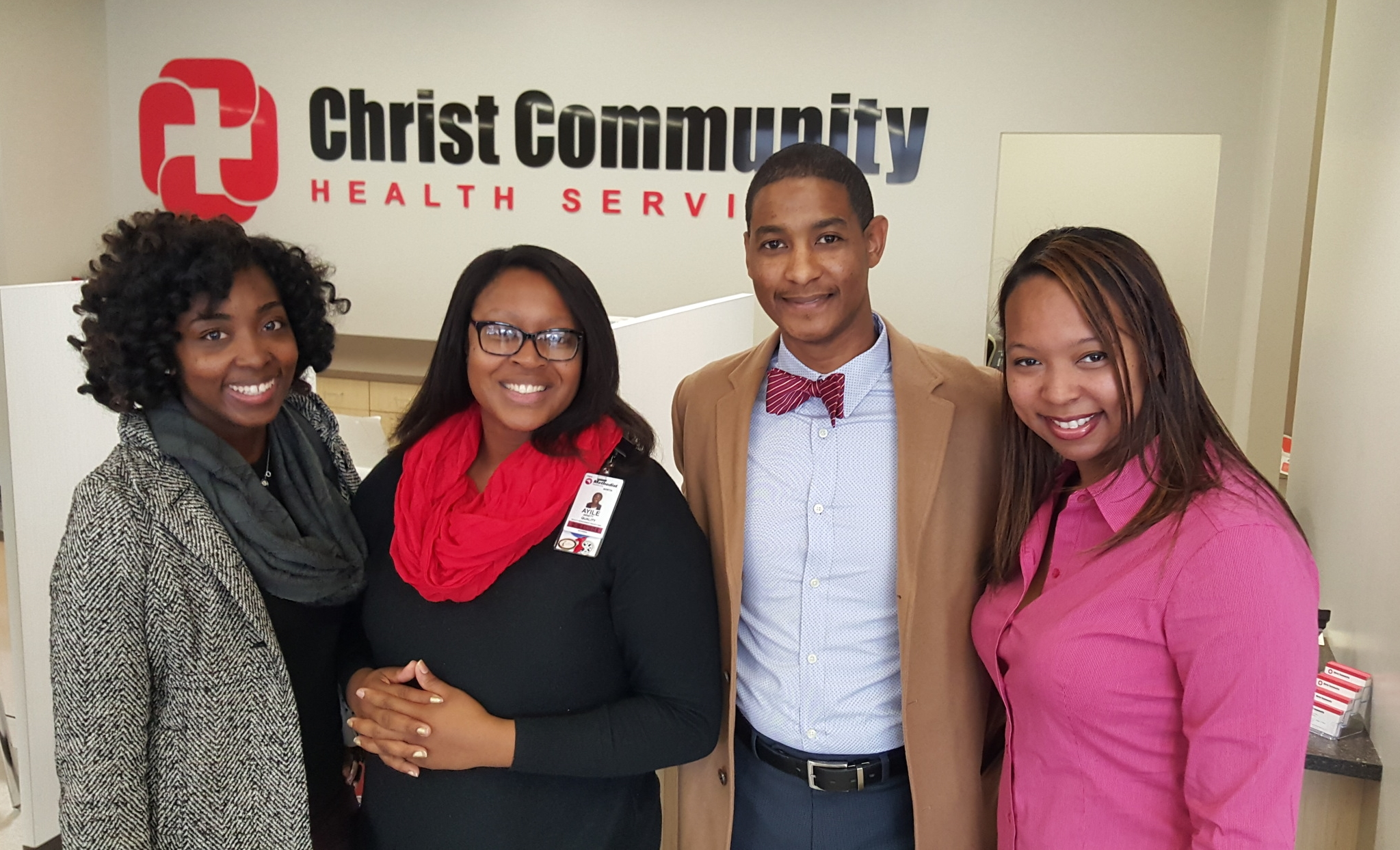 Pictured Here (left to right):  Victoria Williamson , Ayilé Arnett, Jeremy Sanders (President, NAHSE-Memphis), and Ashante Hodges