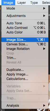 How to find the image size in Photoshop.