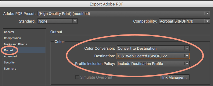 Export a PDF to CMYK color profiles.