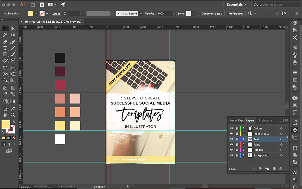 Layout of my social media template in Illustrator