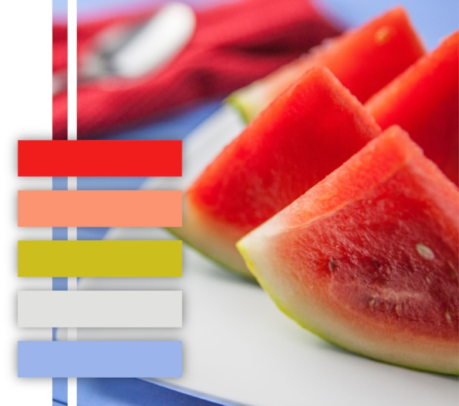 Watermelon color palette, red, pink, lime green, periwinkle, color scheme