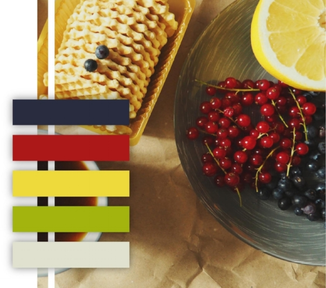 Berry color palette, red, purple, yellow, green, food color, scheme,