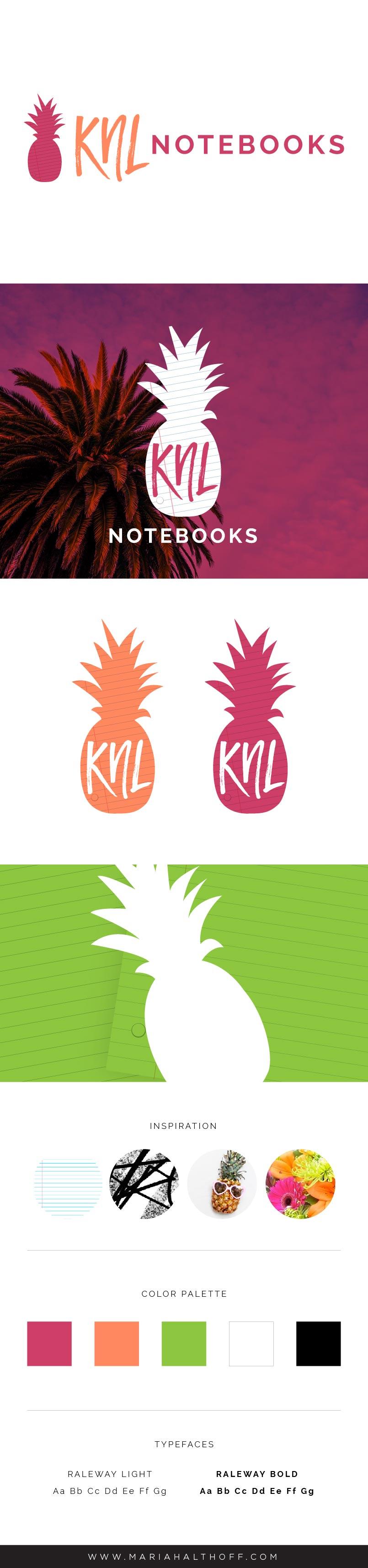 Fun, bright, summery, pineapple,neon logo and brand design – KNL Notebooks