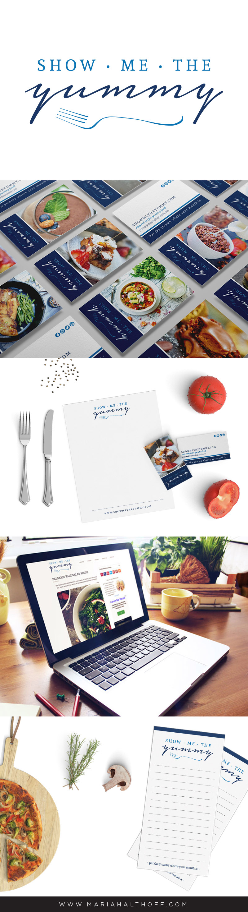 Food Blog logo and brand design, business card design, letterhead design, notepad design – Show Me The Yummy