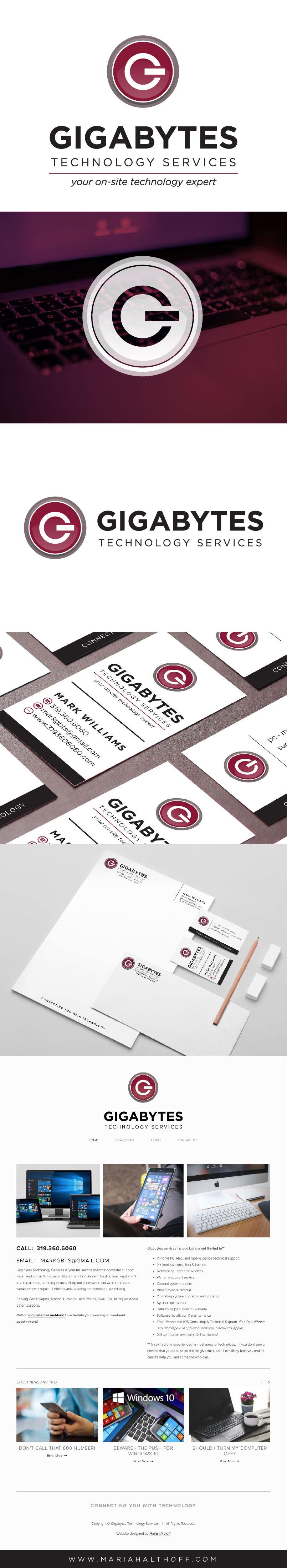 Technology logo design, tech brand design, computer graphic design, sleek, modern, minimalist, brand design, Gigabytes Technology Solutions branding.