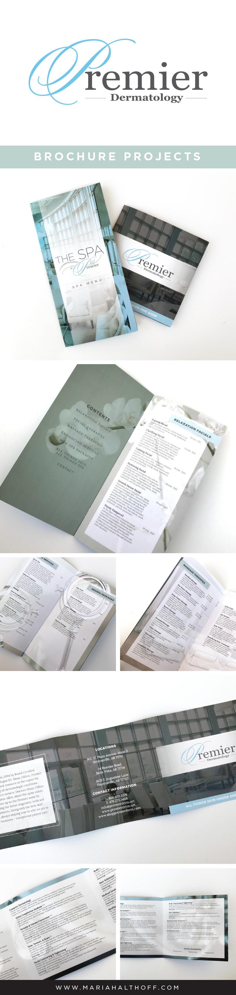 Brochure graphic design, design layout, multi-page brochure, square trifold brochure design for Premier Dermatology – designed by Mariah Althoff.