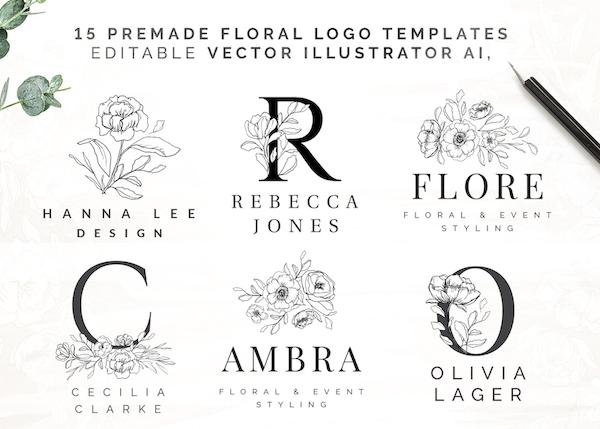 Premade Floral Logo Templates
