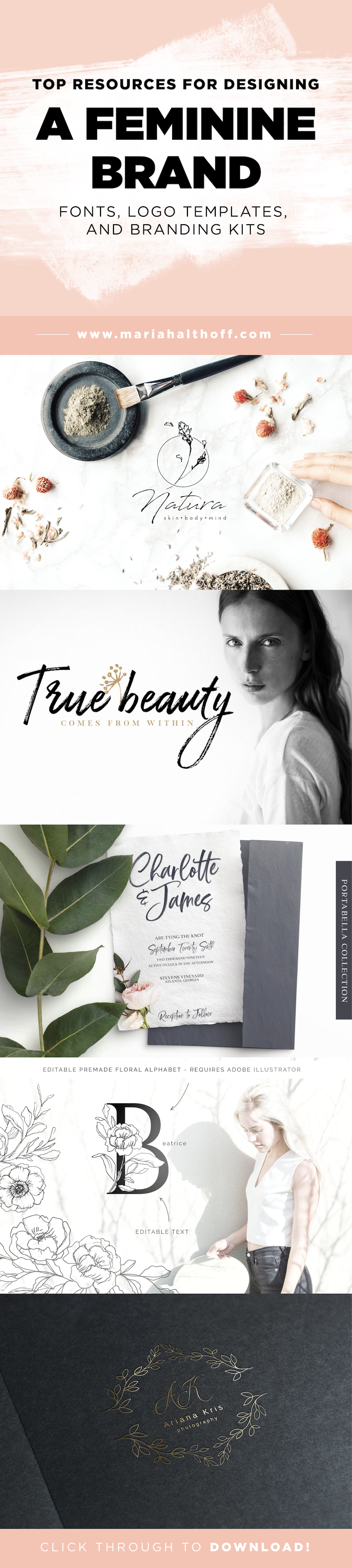 Top Design Resources For A Feminine Brand – If you're working on designing a brand that feels feminine, chic, beautiful, and delicate, look no further! This post is packed with my favorite design resources for designing a feminine brand that I think you'll love!