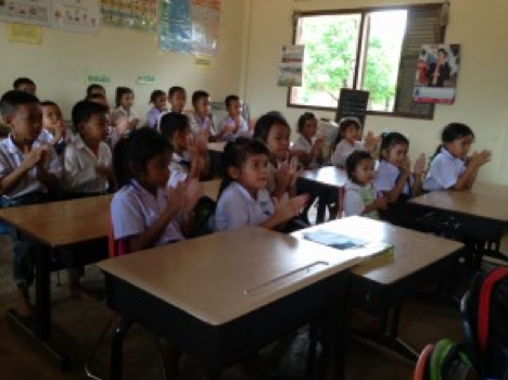 Grade one students in southern Laos learn the ABCs of UXO safety. Photo: Mike Blanchfield