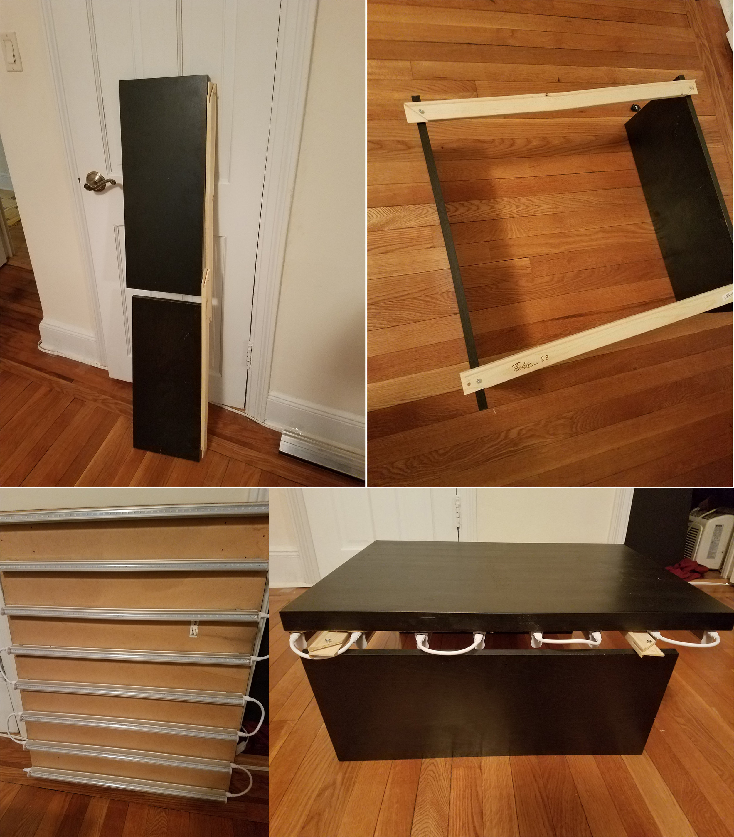 Because I live in a small-ish apartment in a big city I wanted to build a light box setup that was easily torn down and stored.  I built this accordion style base and mounted 8 2' UV LED Blacklight strips in 3.25 inch spacers on an ikea tabletop I had laying around.  It's light weight and I can set this on top of my accordion base and my box is built.  I likewise slide in a piece of black foam core to stop any reflections that might be caused by the hardwood floor.