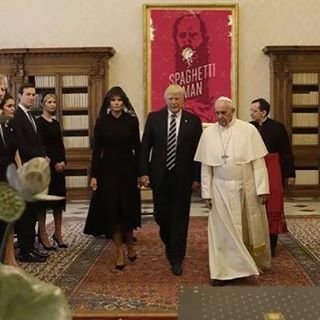 Super thrilled the Pope hung the poster he requested a few months ago. #pope #indiefilm #spaghettimanfilm #spaghettiman