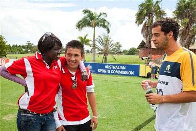 melvin, teresa with FUn ambassador socceroo Alex Brosque.JPG