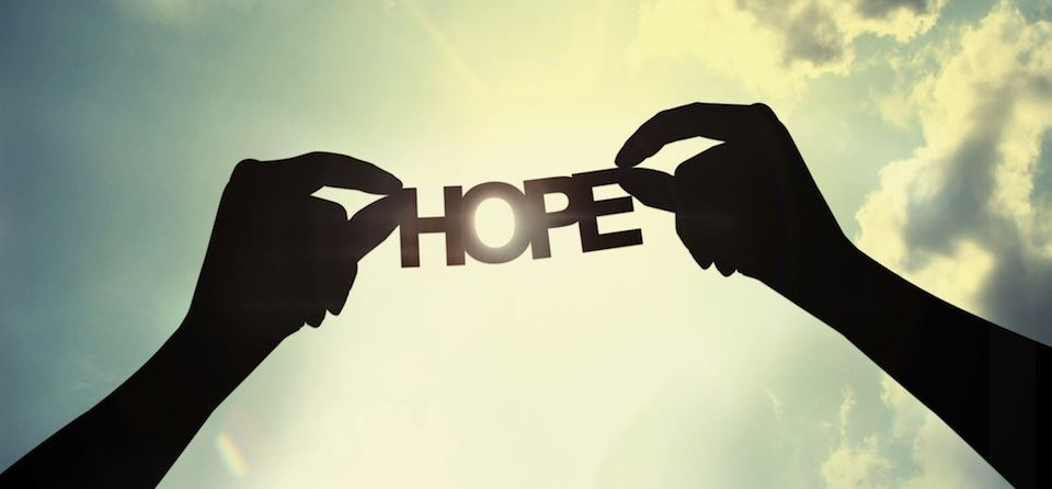 hope sign held by two silhouette hands, counseling in columbia mo