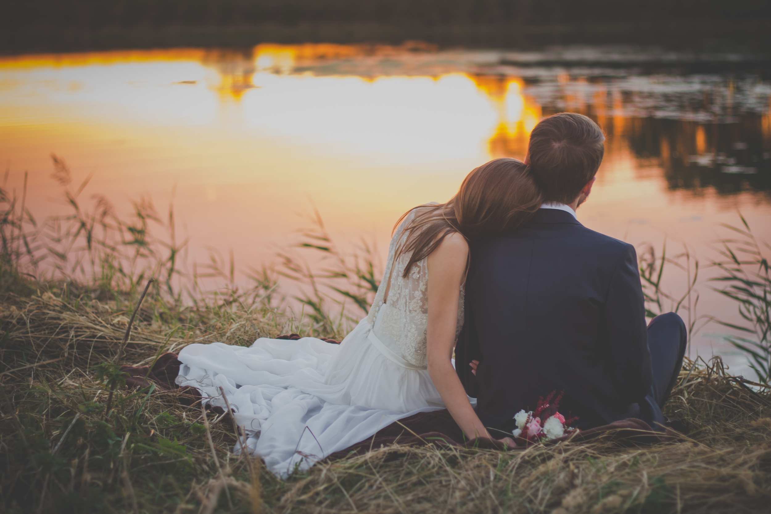 bride and groom at lake, couples counseling in columbia mo